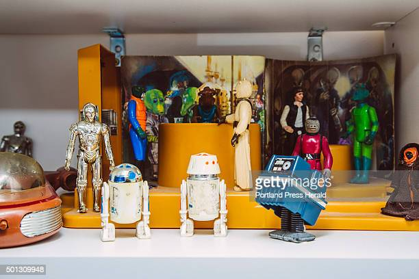 Star Wars collector Tom Long's original Creature Cantina set depicting the cantina on Tattooine in Star Wars IV A New Hope at his home in Portland ME...