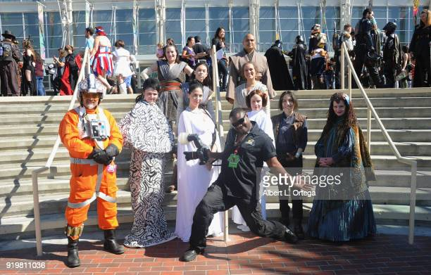 Star Wars Cosplayers and Brandon Jackson attend day 1 of the 8th Annual Long Beach Comic Expo held at Long Beach Convention Center on February 17...