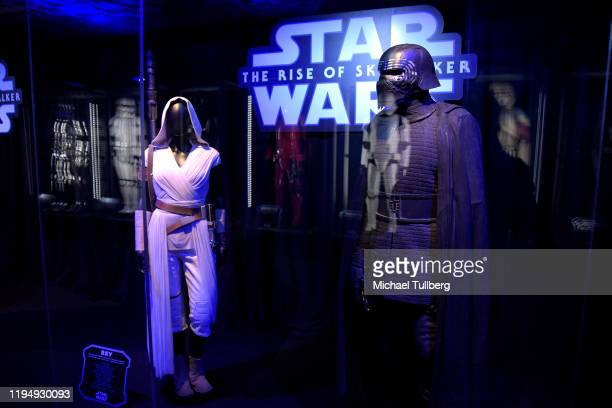 "Star Wars"" costumes for Rey and Kylo Ren on display at the Star Ward Marathon hosted by Nerdest at the El Capitan Theater on December 19, 2019 in..."