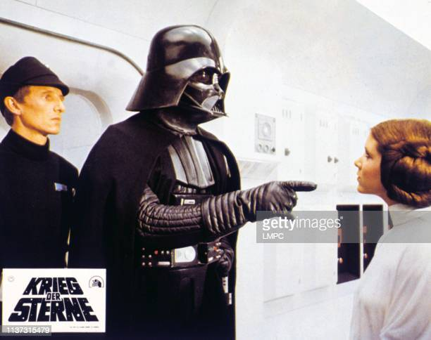 Episode Iva New Hope lobbycard German lobbycard lr Al Lampert David Prowse as Darth Vader Carrie Fisher 1977