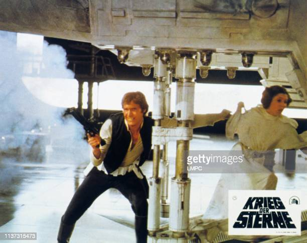 Episode Iv-a New Hope, lobbycard, German lobbycard, l-r: Harrison Ford, Carrie Fisher, 1977.