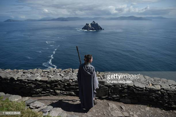 Star Wars fan and cosplayer Sharon Zonneveld dressed as the character Rey pictured on Skellig Michael on August 21 2019 in Portmagee Ireland The...