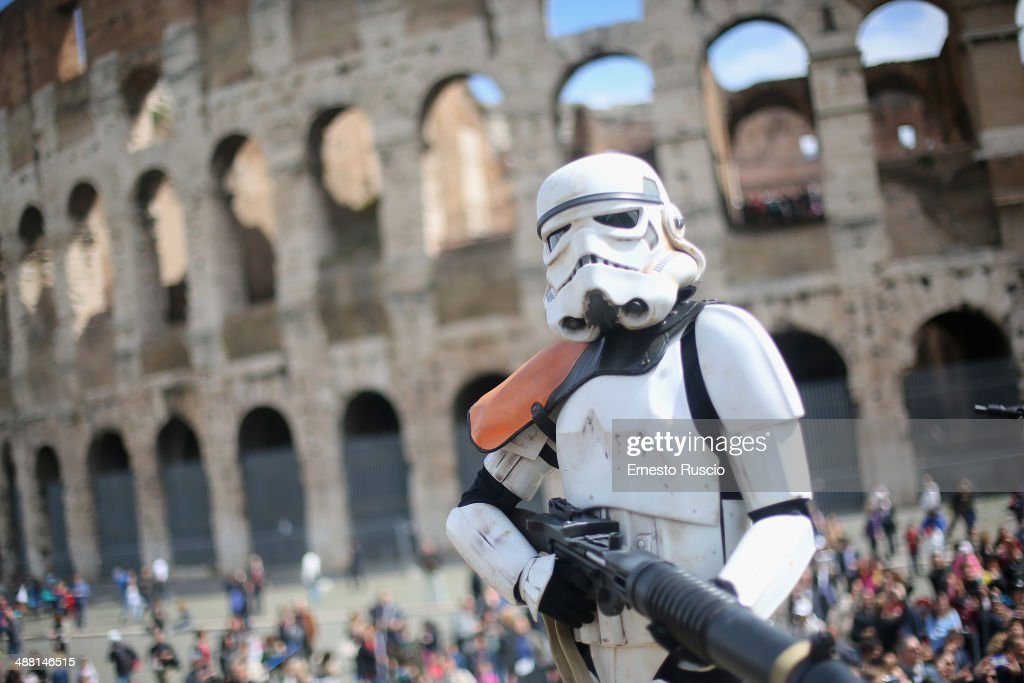 A Star Wars fan dressed as a Stormtrooper during the Star Wars Day 2014 at Colloseo on May 4, 2014 in Rome, Italy.