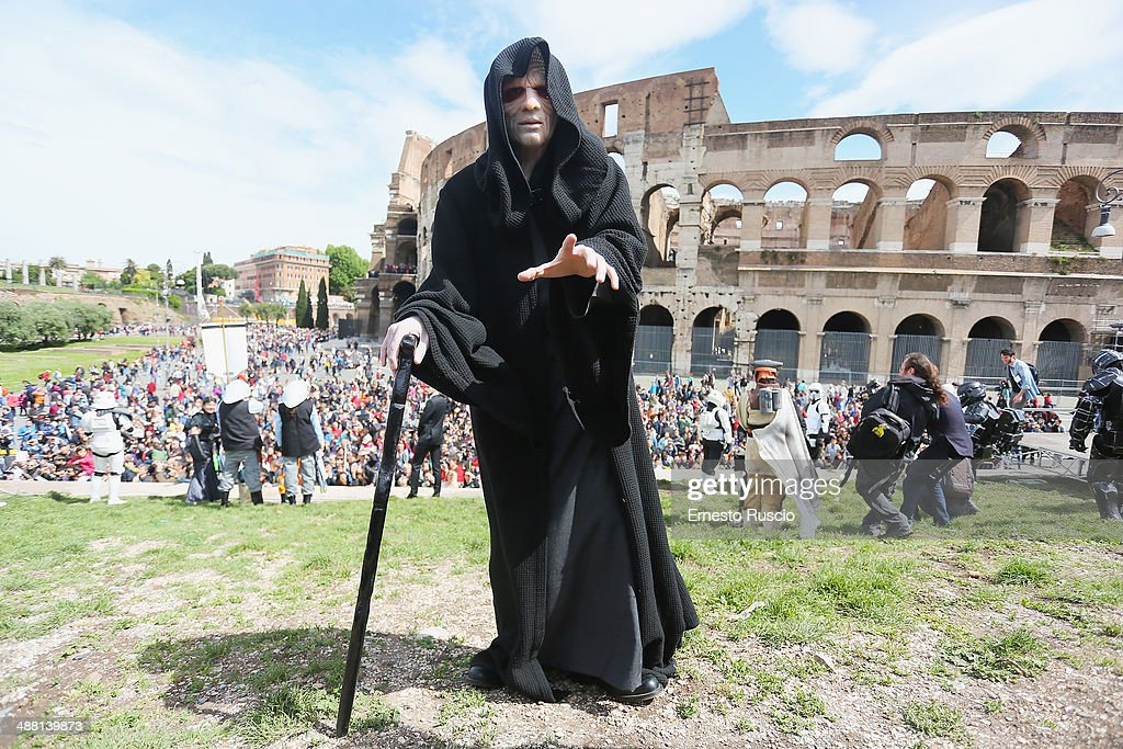 A Star Wars fan dressed as Galactic Emperor Darth Sidious Palpatine during the Star Wars Day 2014 at Colloseo on May 4, 2014 in Rome, Italy.