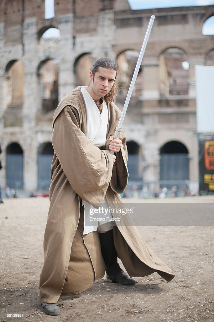 A Star Wars fan dressed as Obi-Wan Kenobi during the Star Wars Day 2014 at Colloseo on May 4, 2014 in Rome, Italy.