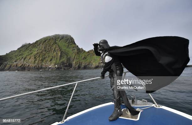 Star Wars fan dressed as the character Darth Vader takes a boat trip to the Skelligs on International Star Wars day May 4 2018 in Portmagee Ireland...