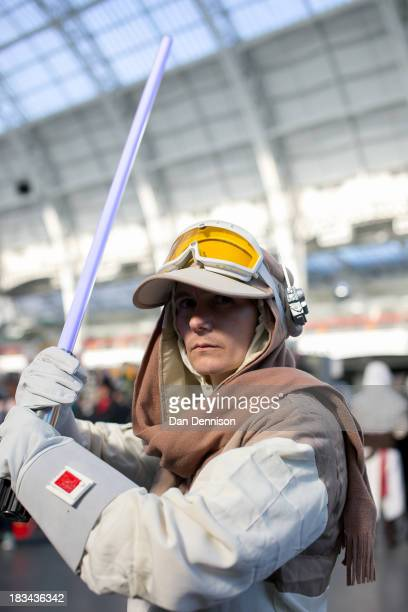 Star Wars fan poses for the camera at the London Film And Comic Con at Olympia Exhibition Centre on October 6 2013 in London England The event which...