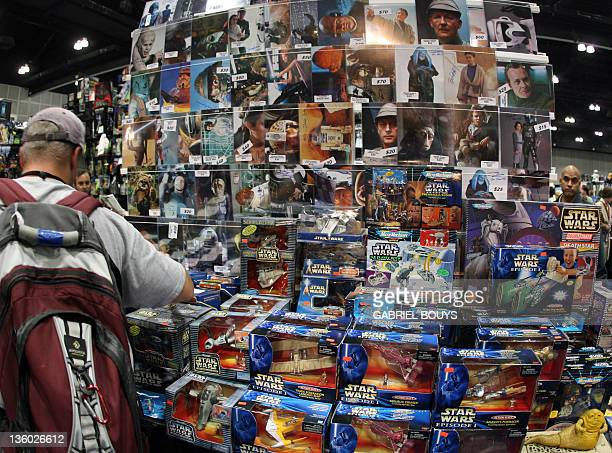 """Star Wars fan shop souvenirs during the opening day of """"Star Wars Celebration IV"""" in Los Angeles, 24 May 2007. The five-day convention celebrates the..."""
