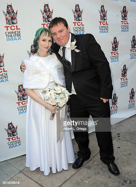 """Star Wars"""" fans Andrew Porters and Caroline Ritter get married in the forecourt of the TCL Chinese Theatre on December 17, 2015 in Hollywood,..."""
