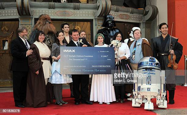 """Star Wars"""" Fans Andrew Porters and Caroline Ritter get married in the forecourt of the TCL Chinese Theatre Imax on December 17, 2015 in Hollywood,..."""