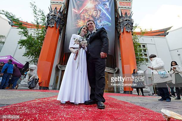 Star Wars fans Caroline Ritter and Andrew Porters of Australia are married in a Star Warsthemed wedding in the forecourt of TCL Chinese Theatre IMAX...