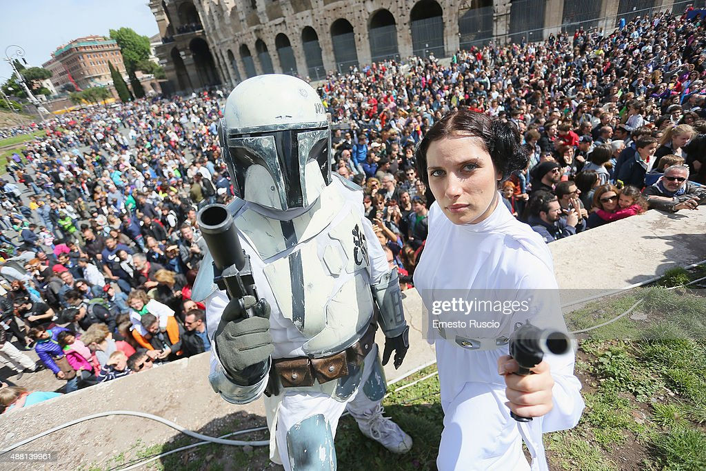 Star Wars fans dressed as a Clone Trooper and Princess Leila during the Star Wars Day 2014 at Colloseo on May 4, 2014 in Rome, Italy.