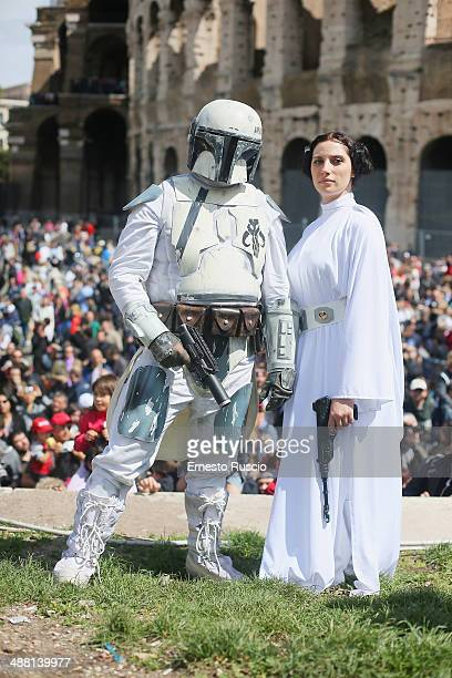 Star Wars fans dressed as a Clone Trooper and Princess Leila during the Star Wars Day 2014 at Colloseo on May 4 2014 in Rome Italy