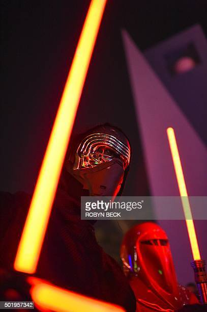Star Wars fans dressed as Kylo Ren and an Imperial Guard attend Lightsaber Battle LA in Pershing Square in downtown Los Angeles California on...