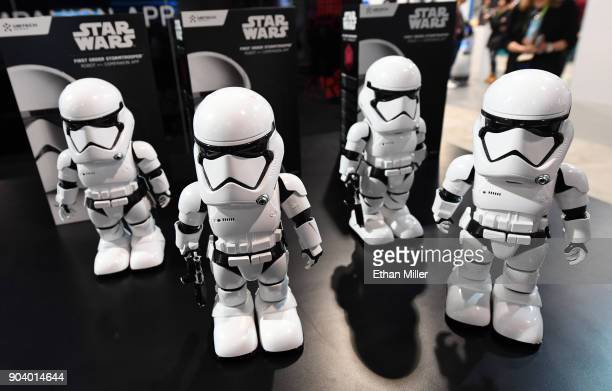 Star Wars First Order Stormtrooper appenabled bipedal robots by UBTECH are displayed during CES 2018 at the Las Vegas Convention Center on January 11...