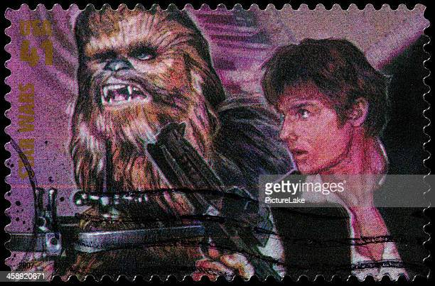 usa star wars han solo and chewbacca postage stamp - star wars stock pictures, royalty-free photos & images