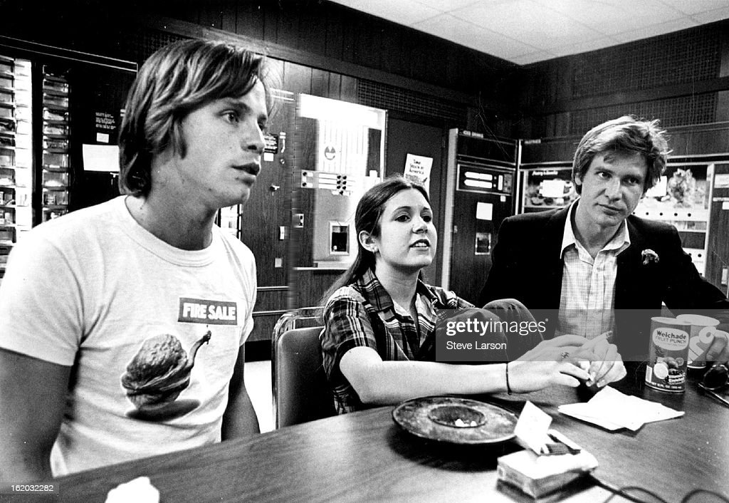 JUN 15 1977, MAY 30 1978, JUN 4 1978; 'Star Wars' has Given three Performers that 'All-Important Break'; Featured in the popular science fantasy movie are, from left, Mark Hamill, Carrie Fisher and Harrison Ford.;