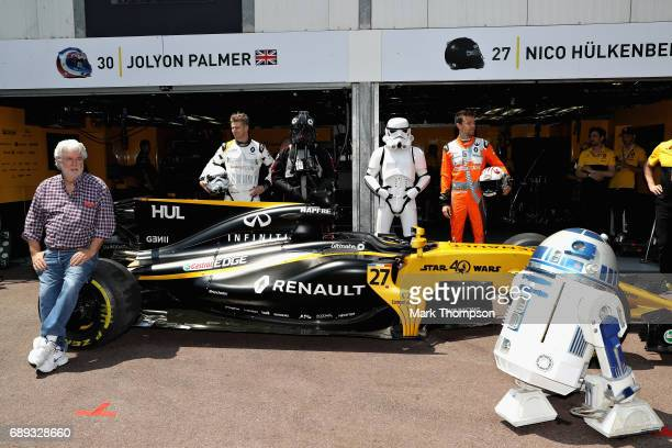 Star Wars legend George Lucas with Nico Hulkenberg of Germany and Renault Sport F1 and Jolyon Palmer of Great Britain and Renault Sport F1 during the...