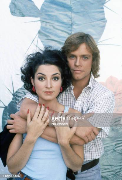 """Star Wars"""" Luke Skywalker actor Mark Hamill and actress Annie Potts, stars of 1978 movie """"Corvette Summer"""" pose for photo on film set in Hollywood..."""