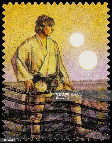 usa star wars luke skywalker postage stamp - luke skywalker stock pictures, royalty-free photos & images