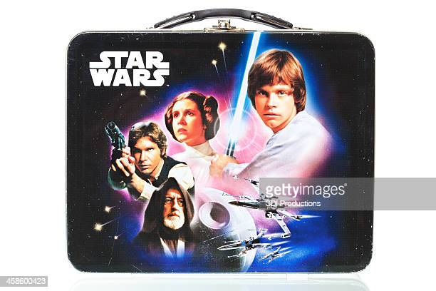 star wars lunch box with reflection, isolated on white - star wars stock pictures, royalty-free photos & images