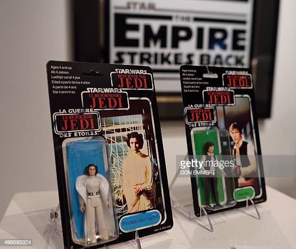 A Star Wars Princess Leia and Han Solo action figures are among the items of Star Wars collectibles Return of the NIGO displayed during a press...