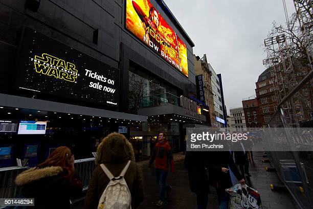 Star Wars promotional posters are setup in Leicester Square ahead of the European film premiere of Star Wars The Force Awakens on December 15 2015 in...