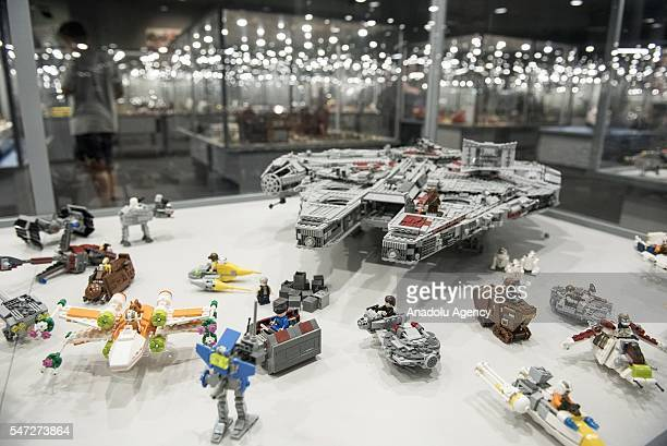 Star Wars ships made of Lego bricks are displayed during the World's biggest LEGO brick show at Galeria Kazimierz Krakow Poland on July 14 2016The...
