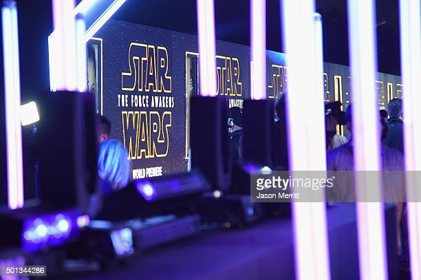 Star Wars signage on display at the Premiere of Walt Disney Pictures and Lucasfilm's Star Wars The Force Awakens at on December 14 2015 in Hollywood...