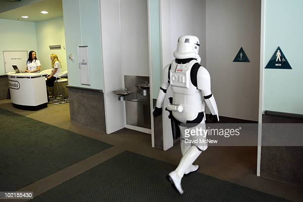 Star Wars storm trooper character takes a break during the annual Electronic Entertainment Expo at the Los Angeles Convention Center on June 16, 2010...