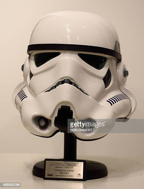 A Star Wars Stormtrooper Helmet from Episode IV A New Hope is among the items of Star Wars collectibles Return of the NIGO displayed during a press...