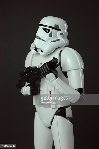 Star Wars Stormtrooper toy figure standing with blaster weapon