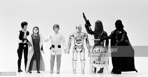 Star Wars toys Figures from left to right Han Solo Leia Organa Luke Skywalker C3PO Chewbacca R2D2 and Darth Vader 21st October 1982