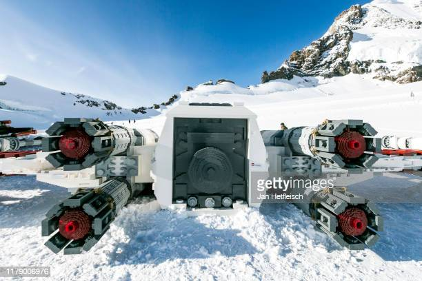 Star Wars XWing Starfighter is built up at the Jungfraujoch aka the 'Top of Europe' ahead of 'Triple Force Friday' on October 03 near Grindelwald...
