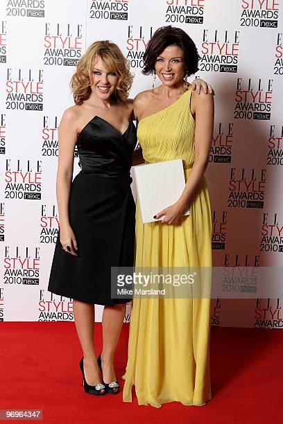 Star winner Dannii Minogue and Kylie Minogue in the Winner's room at the ELLE Style Awards 2010 at the Grand Connaught Rooms on February 22, 2010 in...