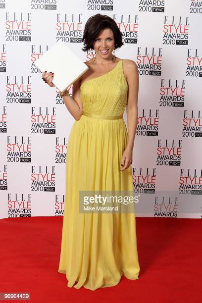 Star winner Dannii Minogue in the Winner's room at the ELLE Style Awards 2010 at the Grand Connaught Rooms on February 22, 2010 in London, England.