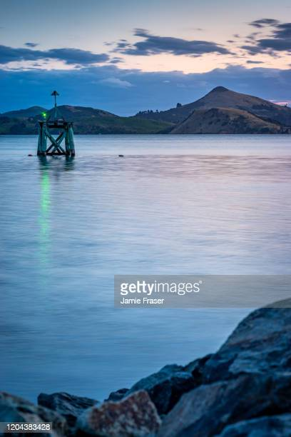 starboard marker with harbour cone in background (hereweka), dunedin, nz - dunedin new zealand stock pictures, royalty-free photos & images