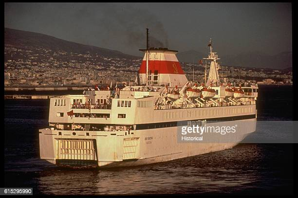 A starboard quarter view of the Soviet roll on/roll off cruise ship Lev Tolstoe underway in the harbor