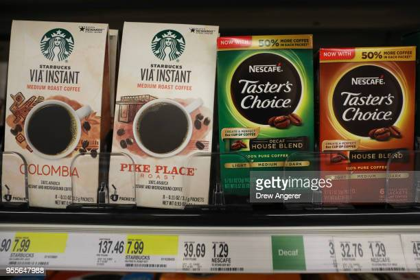 Starbucks and Nestle coffee products sit on the shelf in a Target store in Lower Manhattan May 7 2018 in New York City Marking the third largest...