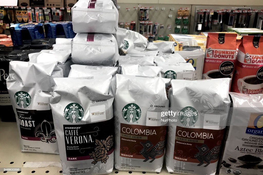 Starbucks branded items for sale at a local supermarket, in