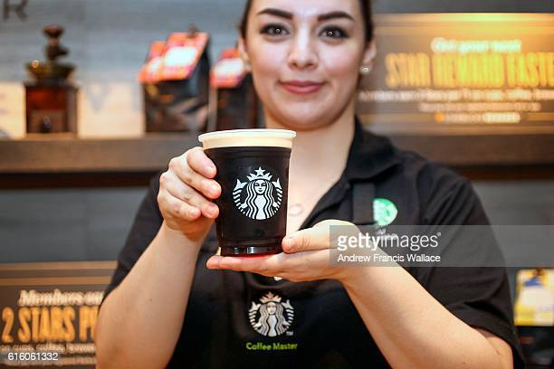 TORONTO ON OCTOBER 20 Starbucks Canada is launching nitro cold brew coffee basically cold brew with a shot of nitrogen Looks like a Guinness but no...