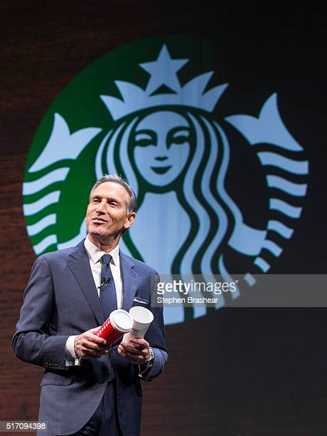 Starbucks CEO Howard Schultz speaks about the Christmas cup controversy during the Starbucks Annual Shareholders Meeting on March 23 2016 in Seattle...