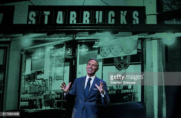 Starbucks CEO Howard Schultz speaks during during the Starbucks Annual Shareholders Meeting on March 23 2016 in Seattle Washington Schultz reported...