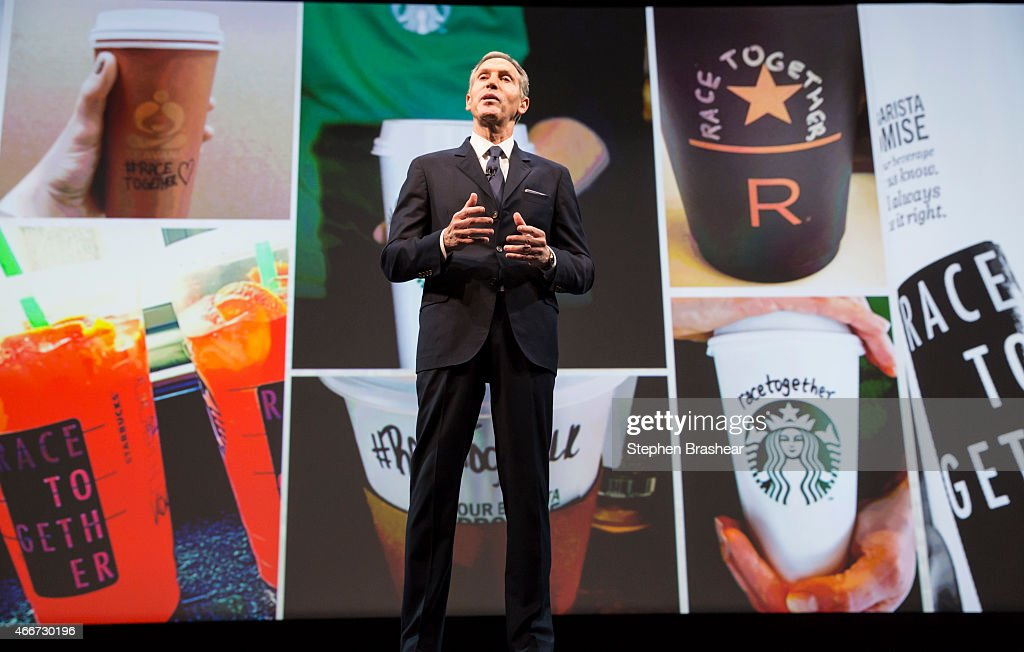 Starbucks Chairman and CEO Howard Schultz addresses the 'Race Together' program during the Starbucks annual shareholders meeting March 18, 2015 in Seattle, Washington. The program is an effort to promote discussion on racial inequality in the United States.