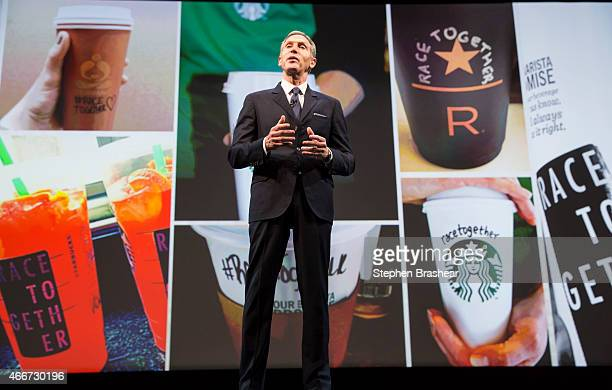 Starbucks Chairman and CEO Howard Schultz addresses the Race Together program during the Starbucks annual shareholders meeting March 18 2015 in...