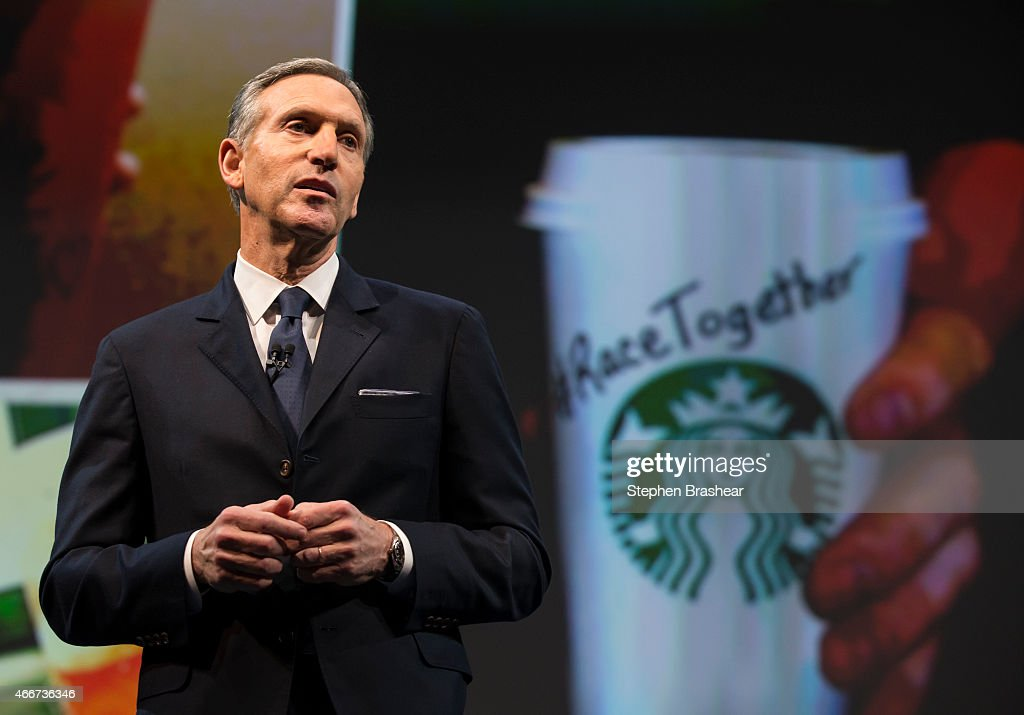 Starbucks Chairman and CEO Howard Schultz addresses the 'Race Together Program' during the Starbucks annual shareholders meeting March 18, 2015 in Seattle, Washington. The program is an effort to promote discussion on racial inequality in the United States.
