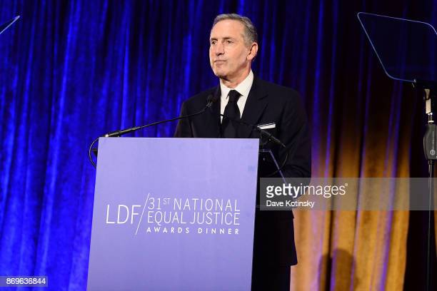 Starbucks chairman and CEO Howard Schultz on stage during the LDF 31th National Equal Justice Awards Dinner at Cipriani 42nd Street on November 2...