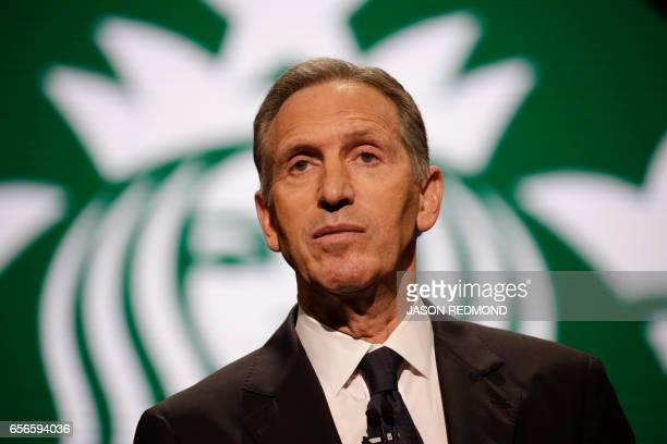 Starbucks Chairman and CEO Howard Schultz speaks at the Annual Meeting of Shareholders in Seattle Washington on March 22 2017 / AFP PHOTO / Jason...