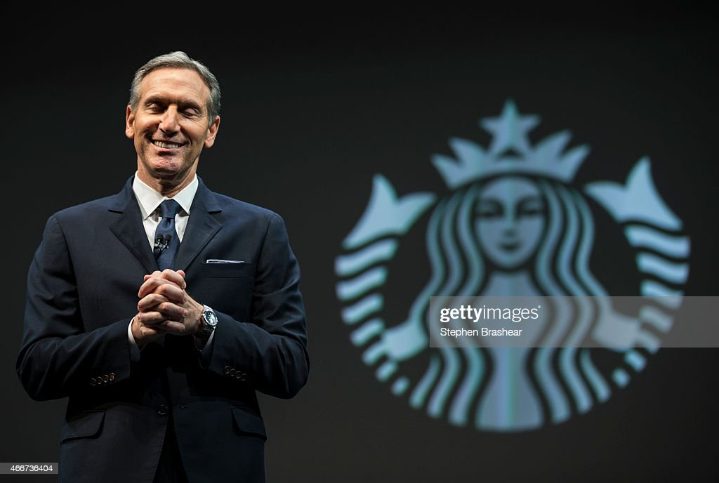 Starbucks Chairman and CEO Howard Schultz speaks during Starbucks annual shareholders meeting March 18, 2015 in Seattle, Washington. Schultz announed a 2-for-1 stock split, the sixth in the company's history, during the meeting.