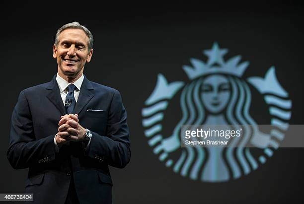 Starbucks Chairman and CEO Howard Schultz speaks during Starbucks annual shareholders meeting March 18 2015 in Seattle Washington Schultz announed a...